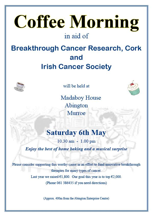 Coffee Morning at Madaboy House in Aid of  Cancer Research  Sat 6th May 2017