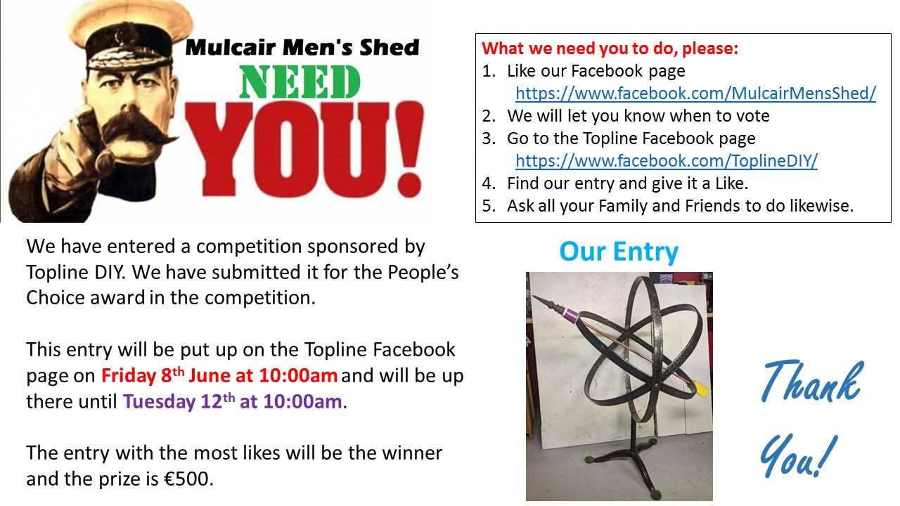 Mulcair Men's Shed need your Help